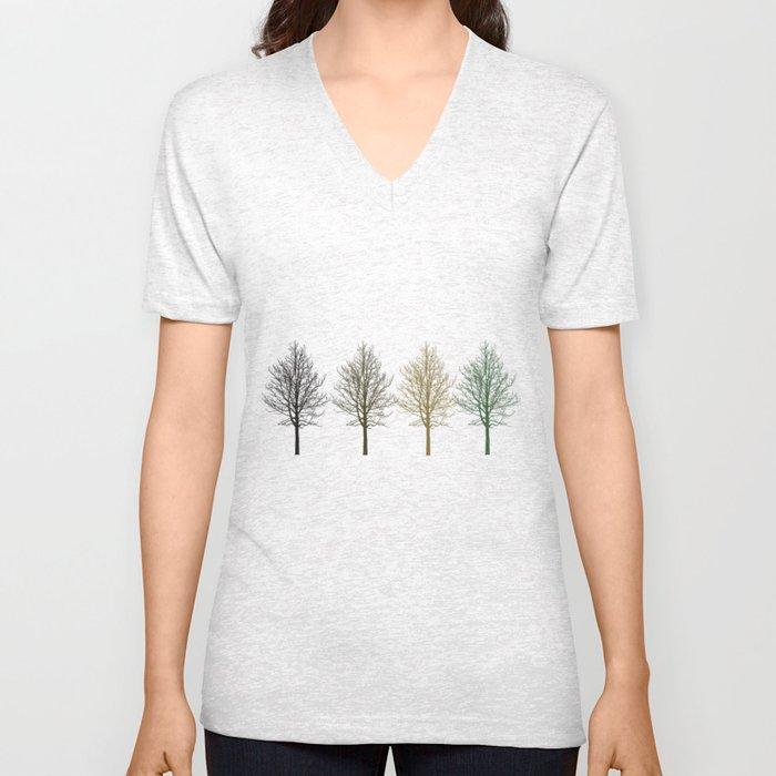 Four Colors Trees Unisex V-Neck
