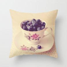 Blueberries in a Teacup Throw Pillow