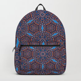 Gorgeous blue and orange beadwork inspired print Backpack