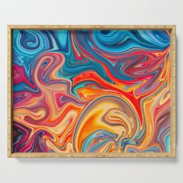 Colorful marble paint Pintura de mármol colorida Bunte Marmorfarbe Peinture de marbre colorée Serving Tray