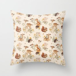 Meadow Friends Throw Pillow
