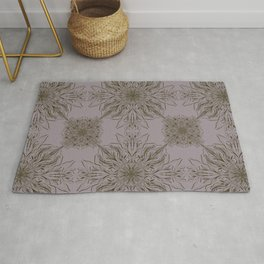Fancy Baroque Pattern in Olive Green and Purple Rug