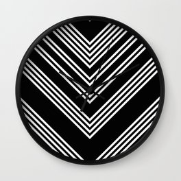 Back and White Lines Minimal Pattern No.3 Wall Clock