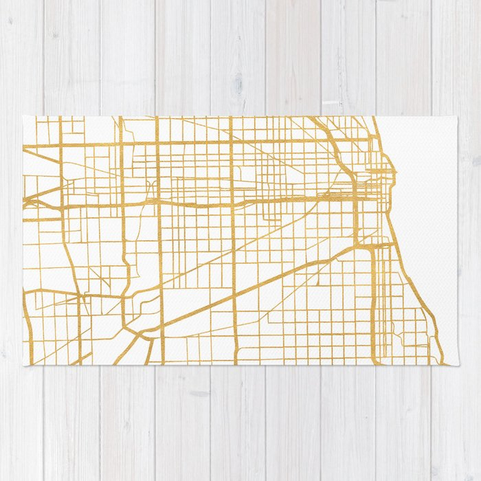 Chicago Map Streets.Chicago Illinois City Street Map Art Rug By Deificusart Society6