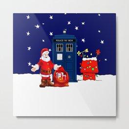 Tardis With Santa Christmas Metal Print