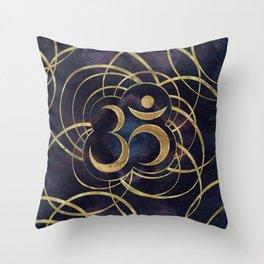 Geometric Om Symbol Gold and Labradorite Throw Pillow