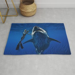 Cold Beauty - Woman Scuba Diving with Great White Shark Portrait Painting Rug