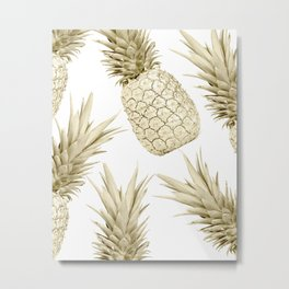 Gold Pineapple Party Metal Print