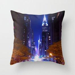 New York Night Life Throw Pillow