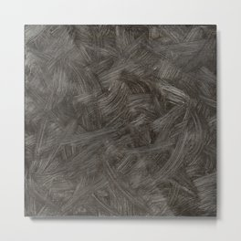 Black And White Brushstrokes Abstract Pattern Modern Art Metal Print