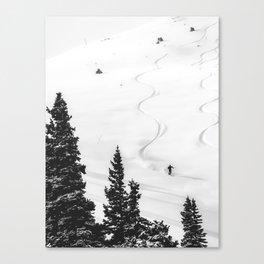 Backcountry Skier // Fresh Powder Snow Mountain Ski Landscape Black and White Photography Vibes Canvas Print