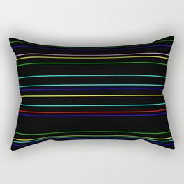Nightlife - Coloured Stripes On Black Rectangular Pillow