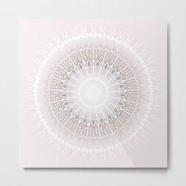 Pastel Gray Mandala Metal Print