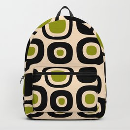 Mid Century Modern Garden Path Pattern 336 Black Beige and Olive Backpack