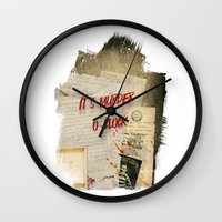 dramatical murder Wall Clocks featuring Murder Board by Sybille Sterk