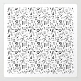 Circuit Components - Black on White Art Print