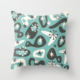 Retro Mid Century Modern Spaced Out Composition 321 Throw Pillow