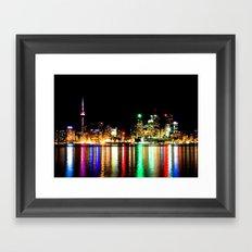 Toronto Skyline At Night From Polson St No 1 Framed Art Print