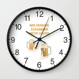 Beer Mugs We Drink Together Not Alone Wall Clock