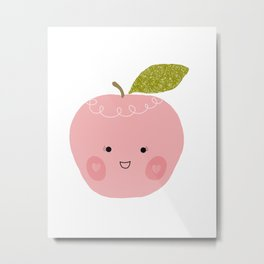 Kawaii happy apple print Metal Print