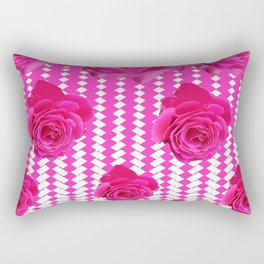 ABSTRACTED CERISE PINK ROSES GARDEN ART Rectangular Pillow