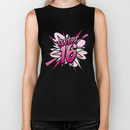 Comic Book Pop Art SWEET 16 Biker Tank