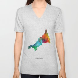 Cornwall Watercolor Map Unisex V-Neck