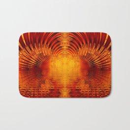 Abstract Fractal Golden Red Tunnel of Light Bath Mat