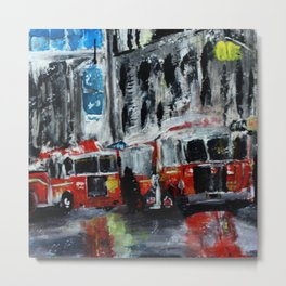 New York Fire Trucks Fine Art Acrylic Painting Metal Print