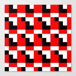 Red black step pattern Canvas Print