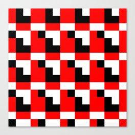 Red black step pattern Canvas Print