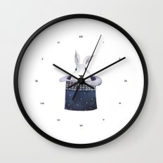 Mr. Rabbit and the Mad Hatter hat Wall Clock