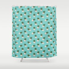 Cute Cactus Turquoise Pattern Shower Curtain