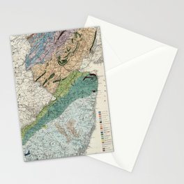 Vintage Geological Map of New Jersey (1839) Stationery Cards