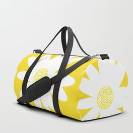 Only One White Daisy Flower Yellow Mellow Background #decor #society6 #buyart Duffle Bag