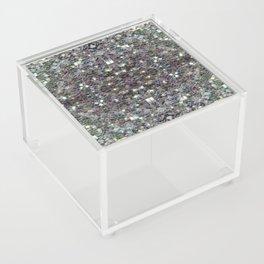 Sparkly colourful silver mosaic mandala Acrylic Box