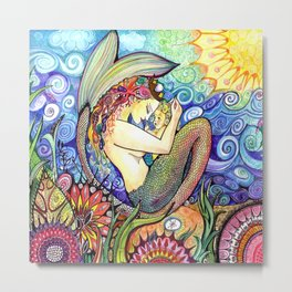 Bright Colors Mama and Mermaid baby Metal Print