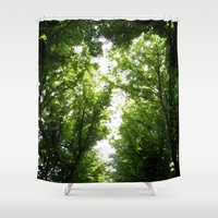robin hood Shower Curtains featuring Hood by YattaGiulia