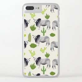 Brahman Cattle cactus southwest farm farming homestead animals Clear iPhone Case
