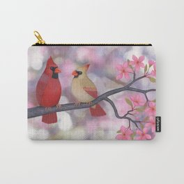 cardinals and crab apple blossoms Carry-All Pouch