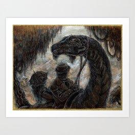 """Victorians Riding Dinosaurs - Magyarosaurus"" Art Print"