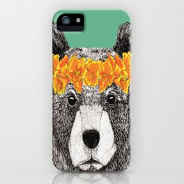 Grizzly with Poppies iPhone Case