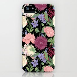 Dark Rose, Peony and Hydrangea Floral Modern Pattern for Winter iPhone Case