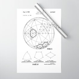 Buckminster Fuller 1961 Geodesic Structures Patent Wrapping Paper