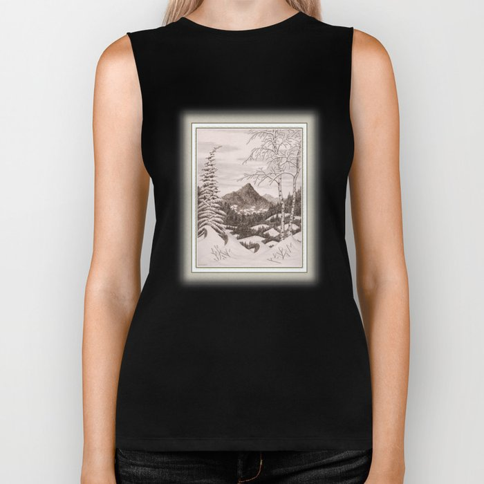 NORTHEAST SNOWFALL VINTAGE PEN AND PENCIL DRAWING Biker Tank