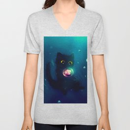 Kitten in the Water with a Bubble Unisex V-Neck