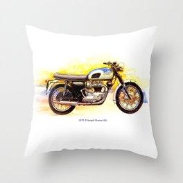 1970 Triumph Bonneville Painting Throw Pillow