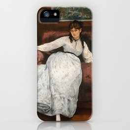 The Rest, portrait of Berthe Morisot by Edouard Manet iPhone Case
