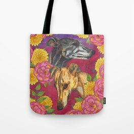 Floral Greyhound Girlies Tote Bag