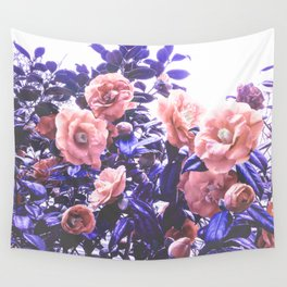 Wild Roses - Ultra Violet and Coral #decor #floral #buyart Wall Tapestry